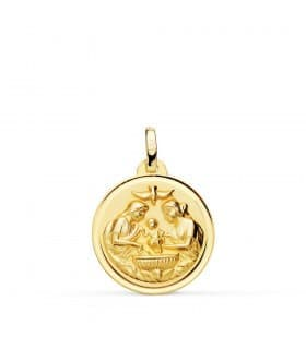 Medalla Bautismo Cristiano Oro 18k 18mm Bisel