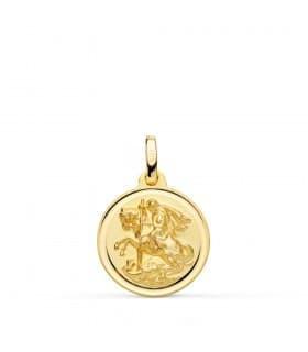 Medalla San Jorge Oro 18K 16mm Bisel