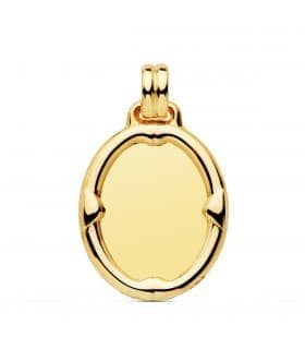Chapa Oval Brillo Borde Oro 18K 26mm