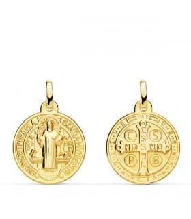 Medalla San Benito Monje 18 Ktes 18mm