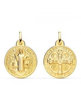 Medalla San Benito Monje Oro 18K 20mm