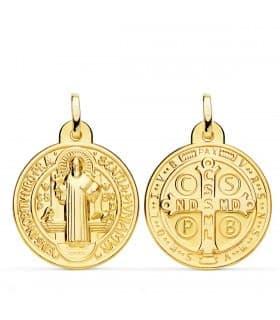 Medalla San Benito Monje Oro 18K 24mm