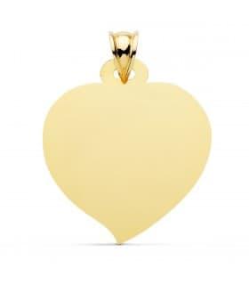 Chapa Colgante Corazón Oro Amarillo 18K 28 mm