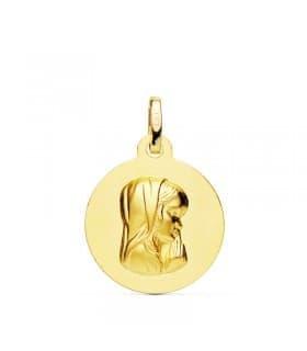 Medalla Virgen niña Oro 18K 16mm Matizada