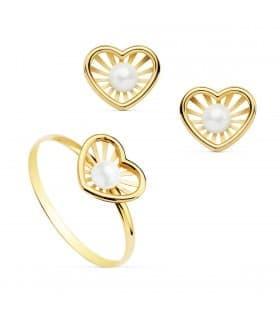 Juego de Comunión Oro Amarillo 18K Chloe Corazón conjunto niña pendientes anillo