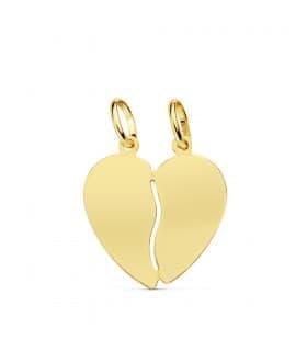 Colgante Corazón Partido Oro Amarillo 18K