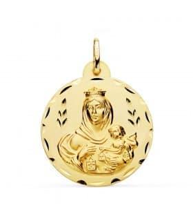 Medalla Virgen Carmen Oro 18K 28mm Tallada