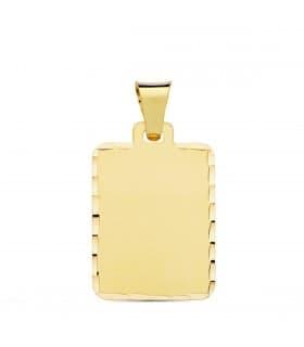 Chapa Colgante rectangular tallado Oro 18K 24 mm