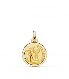"""Medalla para bebé Ángel """"Yo Te Guardaré"""" Oro 18K Bisel 16mm regalo bautizo"""