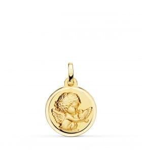 Medalla Ángel y Pájaro Oro Amarillo 18K 16MM Bisel