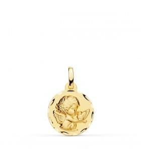 Medalla Ángel Burlón y Pájaro Oro Amarillo 18 Ktes 14MM
