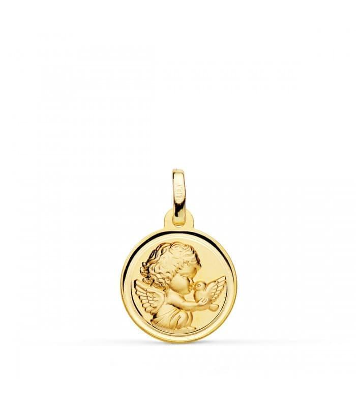 Medalla Ángel y Pájaro Oro Amarillo 18K 14MM Bisel
