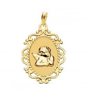 Medalla Cerco Ángel Burlón Oro Amarillo 18K 25 mm