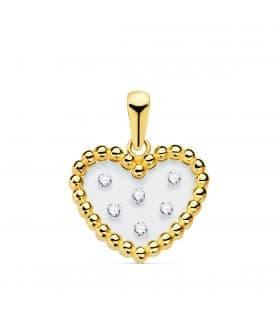 Colgante Gravity Oro Amarillo 18K Corazón Bolitas