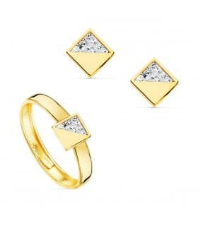 Juego de Comunión Oro Amarillo 18K Cuadrado Conjunto niña pendientes y anillo