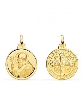Medalla religiosa San Benito 18 Ktes 18mm escapulario santo cruz
