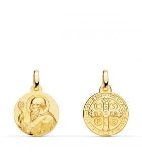 Medalla Religiosa oro 18k San Benito Patron de Europa orden de los benedictinos