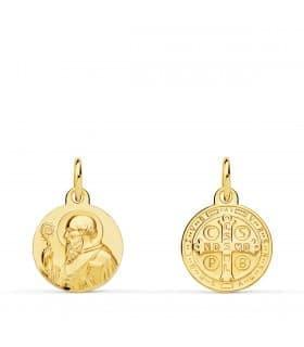 Escapulario San Benito Oro amarillo 18K 12mm medalla religiosa