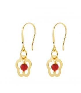 Pendientes Flor Mujer Coral / Turquesa Oro Amarillo 18K