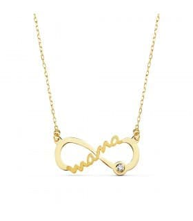 Collar Mamá Infinito Oro Amarillo 9K