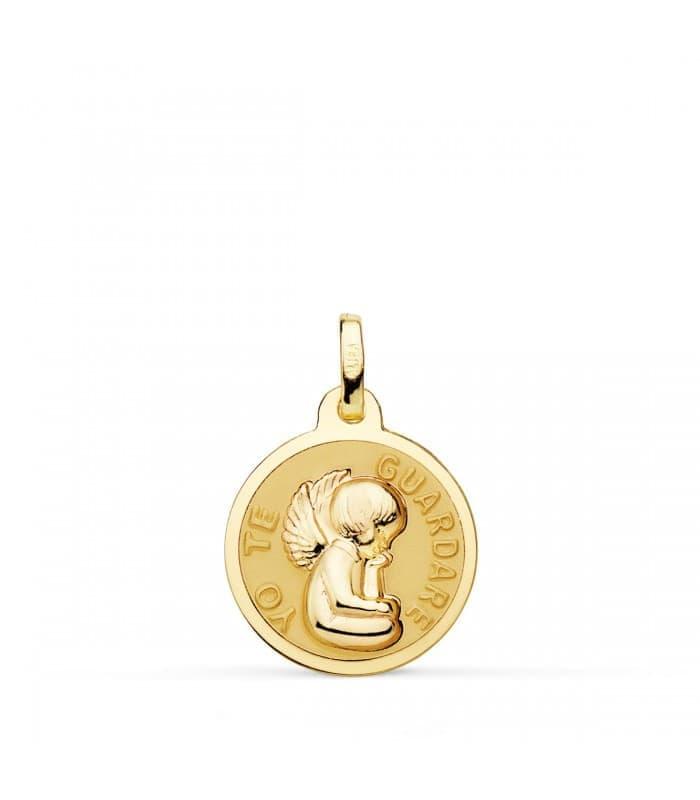 """Medalla Ángel """"Yo Te Guardaré"""" Oro 18K Brillo 16mm"""