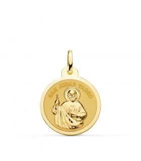 Medalla San Judas Tadeo Oro 18K 20mm Brillo