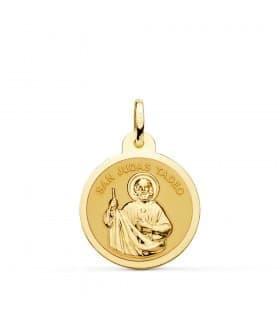 Medalla San Judas Tadeo Oro 18K 20mm Brillo