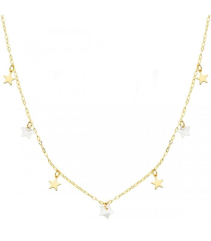 Collar Mujer Estrellitas Nácar Oro Amarillo 18K 40 cm