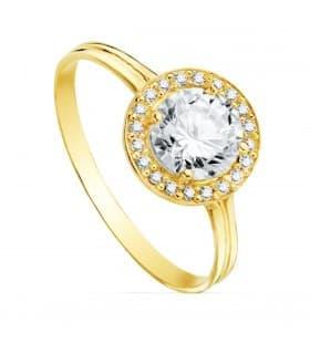 Sortija oro amarillo Candida circonita18 Ktes Anillo mujer invitadas de boda dama de honor