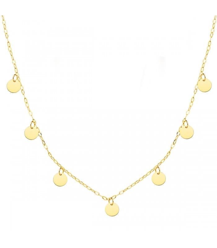 Collar Mujer Chapitas Oro Amarillo 18K 40 cm