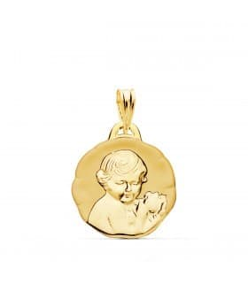 Medalla Dulce Niño de la flor Oro 18k 17mm Brillo