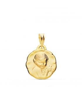 Medalla Dulce Niño de la flor Oro 18k 18mm joya personalizada