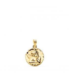 Medalla Redonda Ángel Oro Amarillo 18k 16 mm