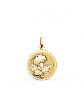 Medalla Ángel y Pájaro Oro Amarillo 18K 16MM Brillo