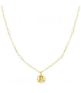 Collar Medalla Virgen Niña Perlas Oro 18K 40cm