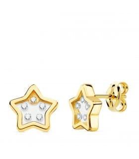 Pendientes Gravity Oro Amarillo 18K Estrella