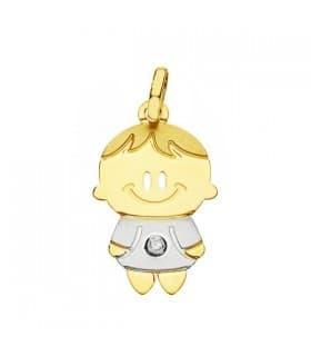 Colgante silueta niño Oro bicolor 18K