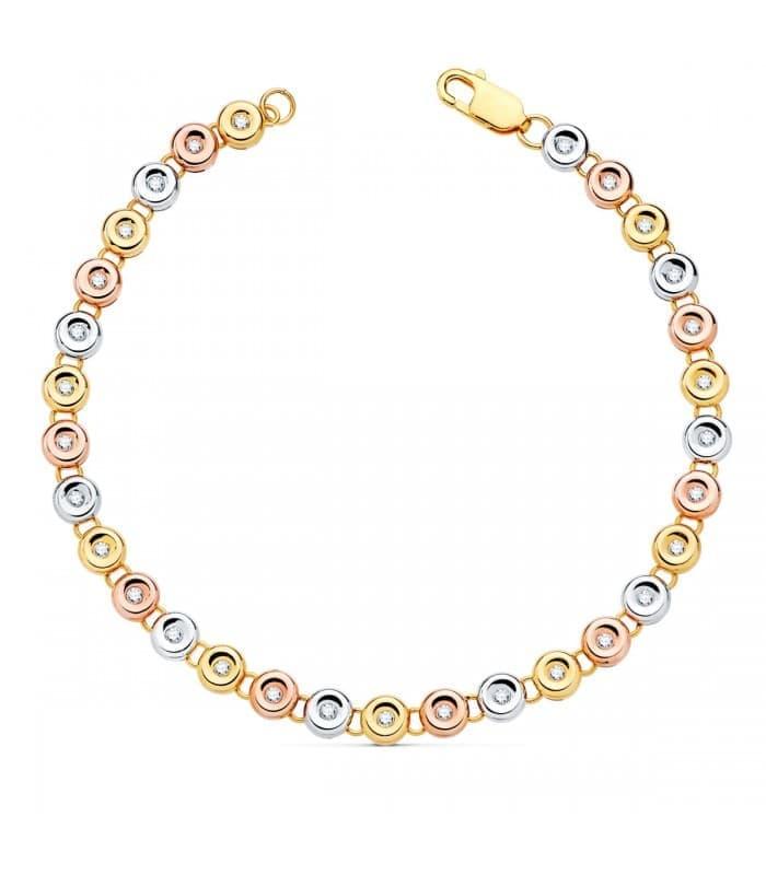 Pulsera Riviere Diamantes 0.520 Qts. Oro Tricolor 18K
