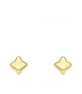 Pendientes oro amarillo 18K Estrella 4 puntas