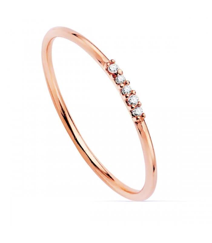 Anillo Hepburn Oro Rosa 18K Diamantes 0.025 Qts.