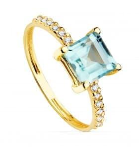 Sortija Mineral Oro Amarillo 18K Topacio Azul