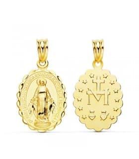 Medalla Virgen Milagrosa 18 Ktes 21mm