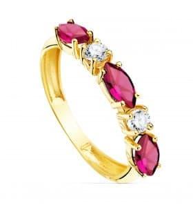 Sortija de oro 18K Piedra Marquis Rosa Tresillo colores cinquillo
