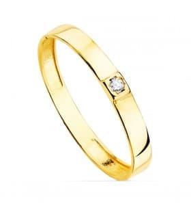 Anillo Mujer Fine Cristal oro amarillo 18K alianza solitario