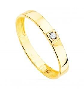 Anillo Mujer oro amarillo 18K Flat Stone solitario alianza