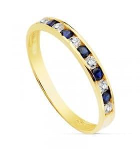 Sortija oro 18K Romina Carril Azul Cristal piedras colores media alianza