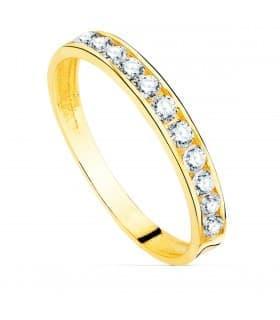 media alianza piedras carril anillo compromiso boda oro 18k