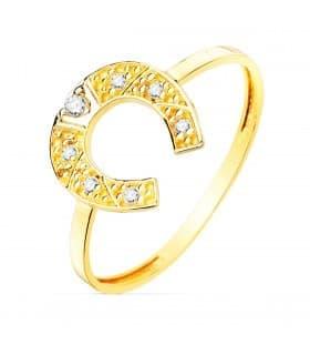 Sortija mujer oro amarillo 18K Herradura