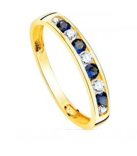 Sortija mujer Disco Oro Amarillo 18K Piedras Azul
