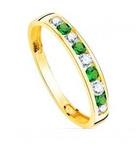 Sortija mujer Disco Oro Amarillo 18K Piedras Verde